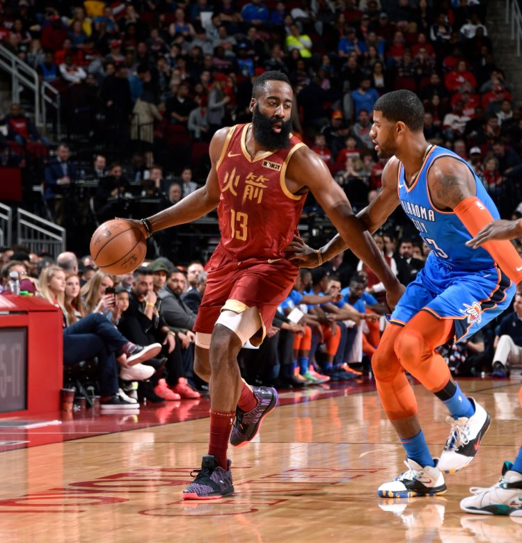 #PaulGeorge (45 points) and #JamesHarden (42 points) are the second pair of players to score 40+ points in the same game this season, joining #BradleyBeal (43) and #KawhiLeonard (41) in a Raptors-Wizards double-overtime matchup on January 13th. @EliasSports