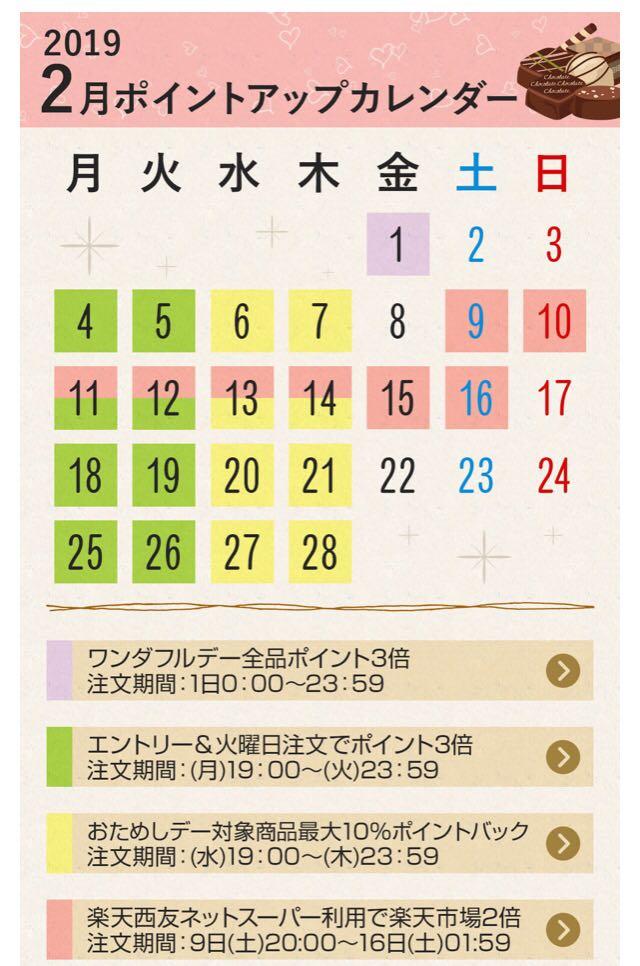 アップ カレンダー ポイント 楽天
