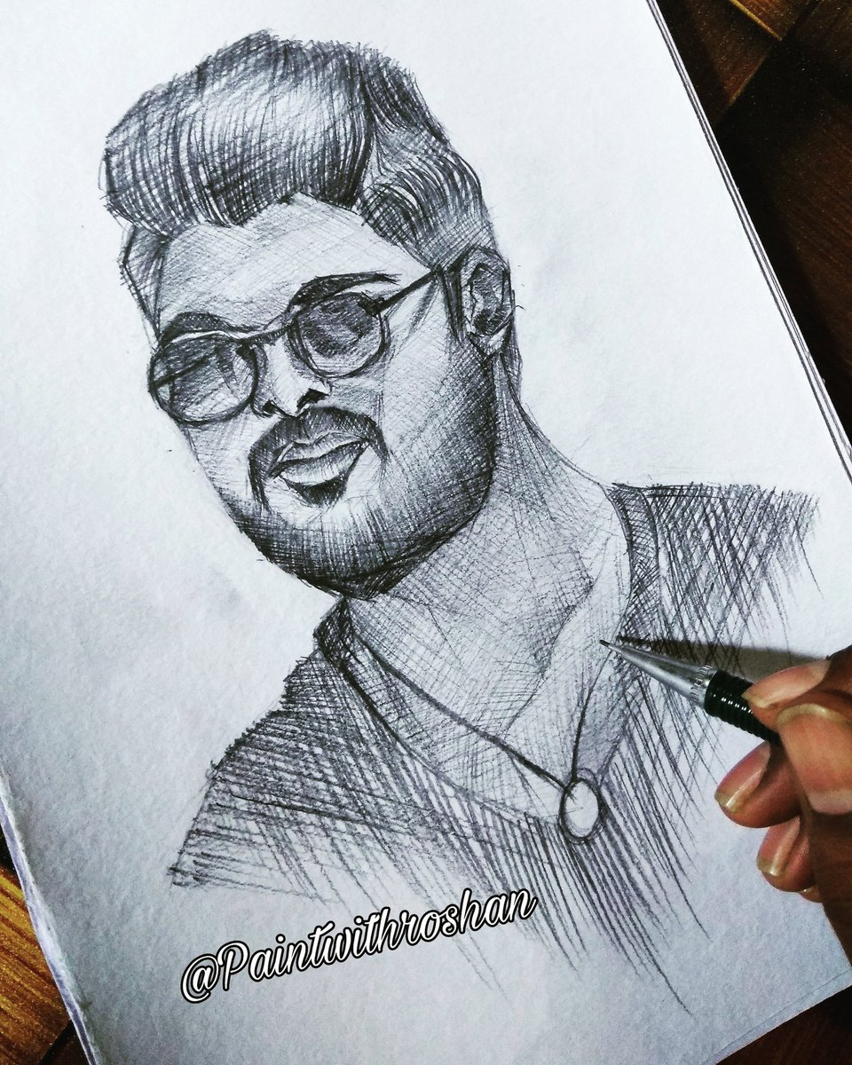 Paint With Roshan On Twitter Portrait Sketch Of Allu Arjun Alluarjun Alluarjun Southactor Allu Art Sketch