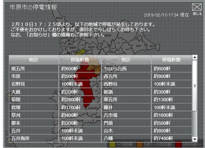 画像,停電情報東京電力17時34分千葉県 約27600軒市原市 約27600軒千葉市中央区 約61100軒千葉市花見川区 約100軒千葉市緑区 約3000軒千葉市若葉…