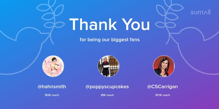 Our biggest fans this week: @hahnsmith, @poppyscupcakes, @CSCarrigan. Thank you! via https://t.co/xlkQeVoDX6 https://t.co/WZb3gu30Ir