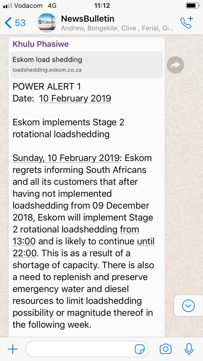 """[BREAKING NEWS] Shortly after President Cyril Ramaphosa announced plans to unbundle #Eskom. The power utility has today decided to implement """"Stage 2 rotational loadshedding... from 13:00 and is likely to continue until 22:00"""" as a result of a """"shortage of capacity"""".#Loadshedding"""