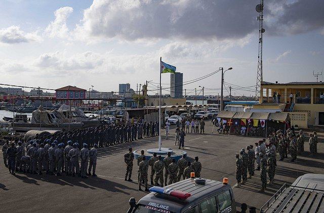 #Sailors from the U.S., #Indian, #Comorian, #Kenyan, #Djiboutian & #Somali navies along with @USCG sailors & Royal #Netherlands #Marines gather for the closing ceremony of exercise #CutlassExpress 2019 in Djibouti, Feb. 6, 2019. Read: http://go.usa.gov/xERcJ   . @USAfricaCommand