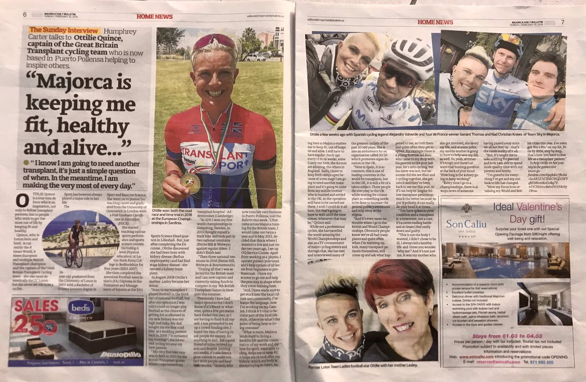 Mega chuffed I made it into today's Majorca Daily Bulletin @MajorcaDaily Awesome write up, thanks very much Humphrey! Always trying to promote organ donation &amp; cycling wherever I am  #Mallorca #Luton #Alive<br>http://pic.twitter.com/7AT7HYwv3k