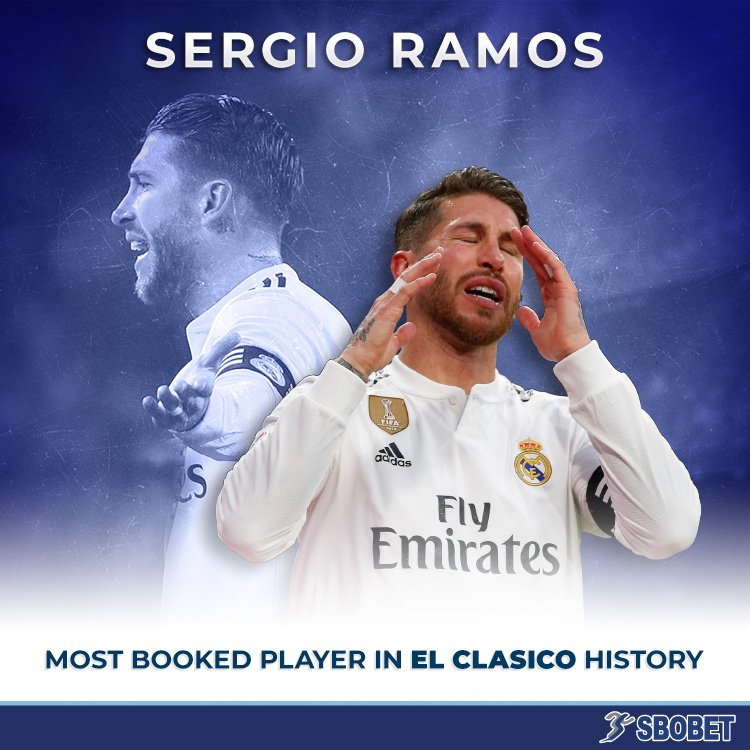 With 17 yellow cards and 10 red cards, Sergio Ramos is the most carded player in the history of Barcelona and Real Madrid's rivalry.  #ElClasico #HalaMadrid #RMCopa
