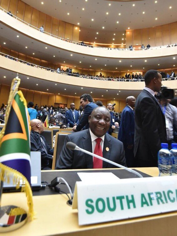 HE President @DPRamaphosa has been announced Chairperson of the  fo@_AfricanUnionr the year 2020 - he will take over from the Egyptian President Abdel Fattah el-Sisi, Chair for 2019   #AUSummit #BetterAfricaBetterWorld