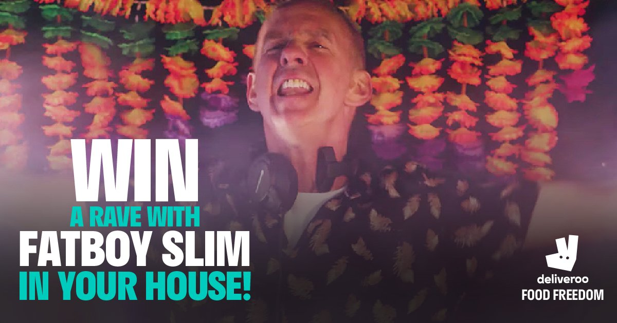 Win the first ever Deliverave - with @FatboySlim. We're delivering the final night of @FatboySlim's UK tour to one lucky person for the house party of a lifetime - and we're bringing the food . Enter right here, right now, for your chance to win: https://www.deliverave.com/