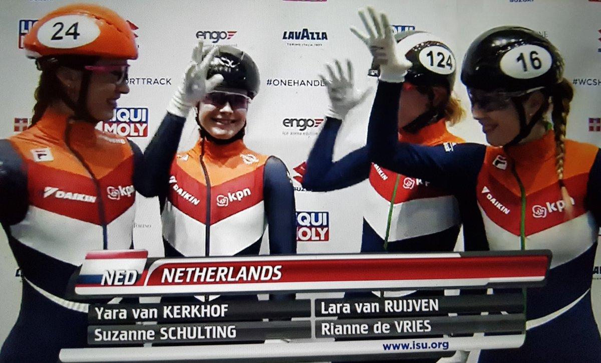 Het sterke wereldbekerseizoen van de Nederlandse vrouwen (individueel 6x in de top-10): Klassement 1500m - 1e Schulting  Klassement 1000m - 1e Schulting, 7e De Vries Klassement 500m - 3e Van Ruijven, 4e Van Kerkhof en 8e Schulting Klassement Relay - 2e Nederland #shorttrack