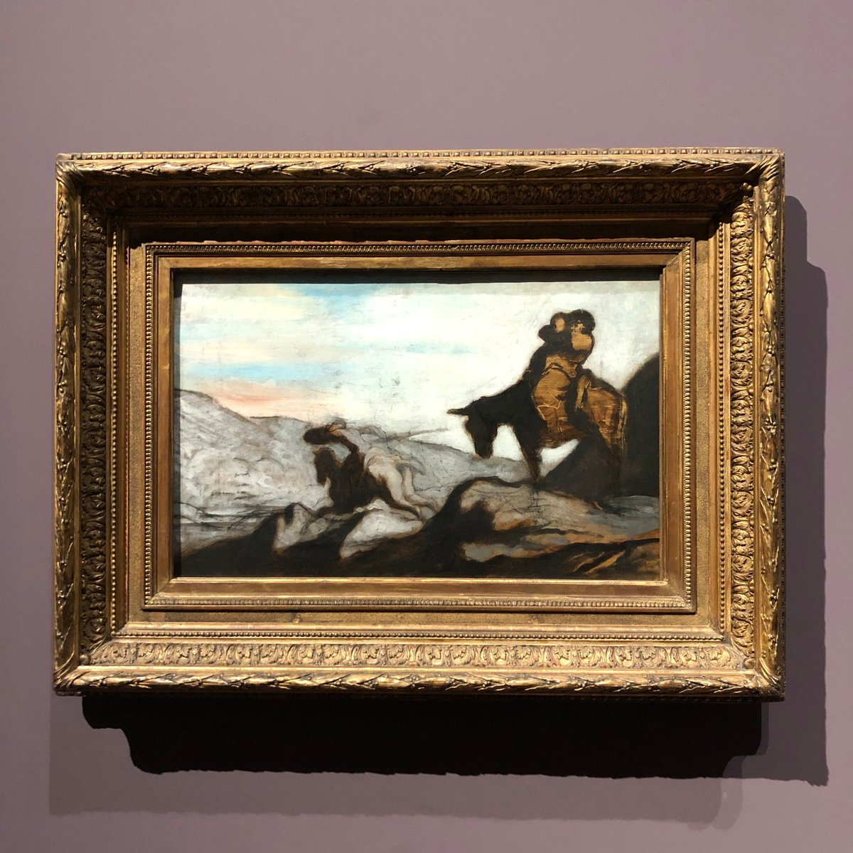 Did you know that #HonoréDaumier was called the 'Michelangelo of caricature'? Although he painted over 500 oil paintings, he only met success as a painter the year before he died. #Daumier died on this day, 10 February 1879. This is 'Don Quixote and Sancho Panza'<br>http://pic.twitter.com/4OVA0Wa0Q8