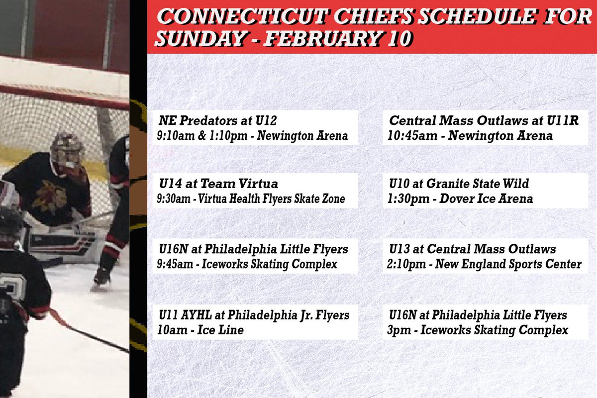 Our CT Chiefs schedule for today, Sunday February 10...make sure to catch one of the many CT Chiefs teams playing Saturday...#gochiefs #promote #develop #excel . . . . . #goctchiefs #ctchiefs #connecticut #chiefs #elitehockey #icehockey #hockey #travelhockey #sunday