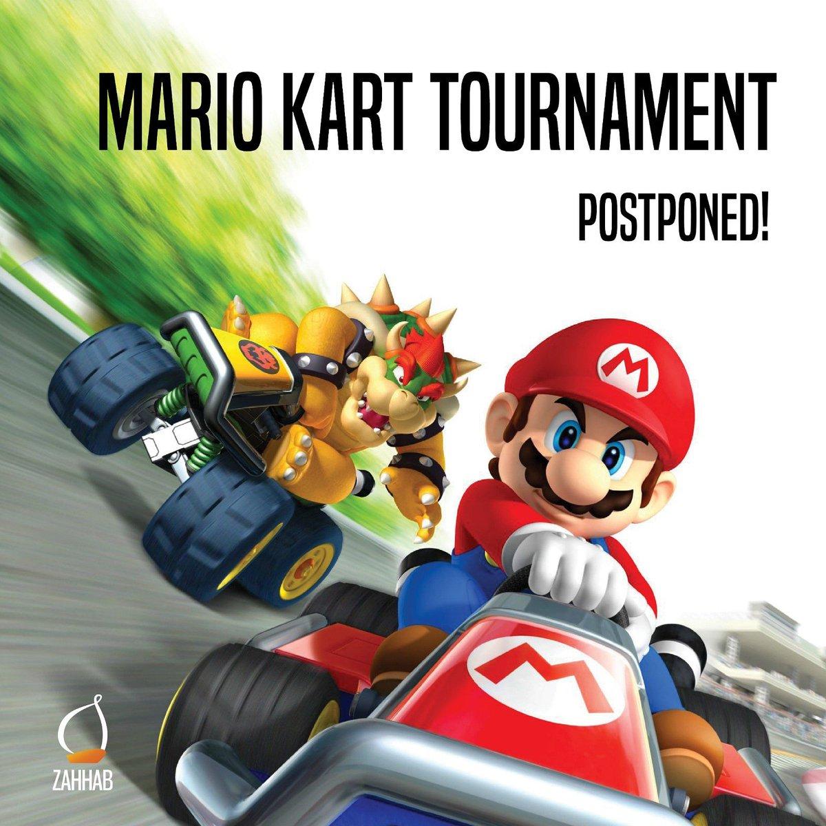 يؤسفنا تأجيل مسابقة ماريو كارت! سيتم اعلان تاريخ الجديد. Unfortunately, the mario kart tournament has been postponed. We will update you with new dates. https://t.co/6rtZFdJLTu