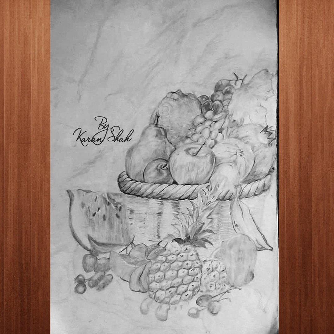 Pencil Sketch Pencil Fruit Basket Drawing Still Life Fruit Basket Drawing By Linda Williams
