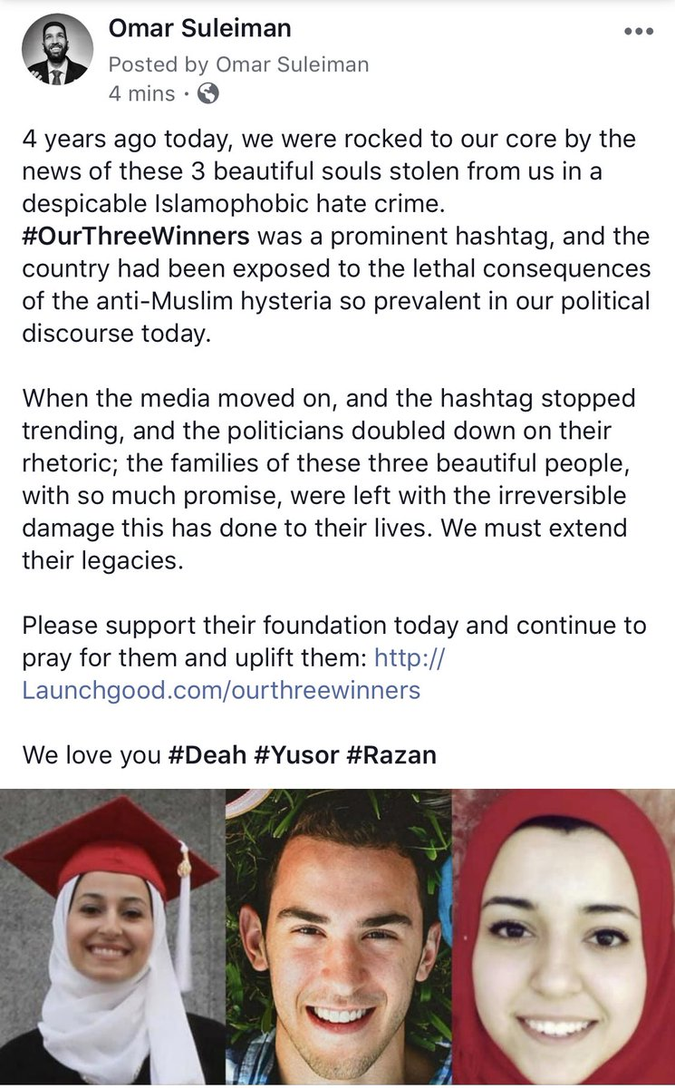 #OurThreeWinners forever in our hearts. 4 years ago they were stolen from us. God willing, 400 years from now the goodness they left behind will still continue. https://www.launchgood.com/project/we_are_called_to_address__head_on__the_reason_for_our_three_winners_deaths_hate…