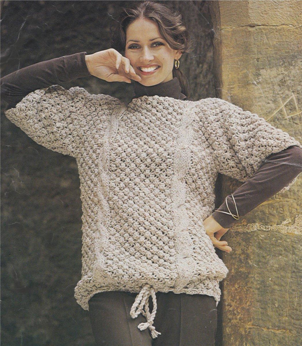 79f32699567b Womens Cable and Bramble Stitch Sweater Knitting Pattern PDF Ladies 32