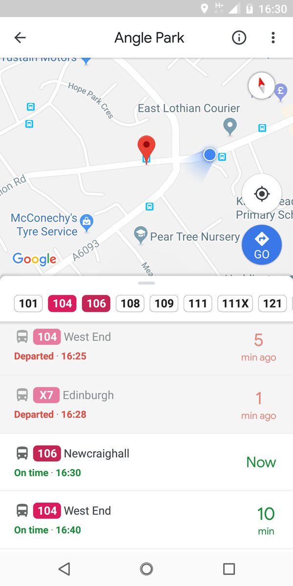 Tell you what, the Google Transit real time predictions are all over the place. We've departed a bus stop we haven't reached yet.