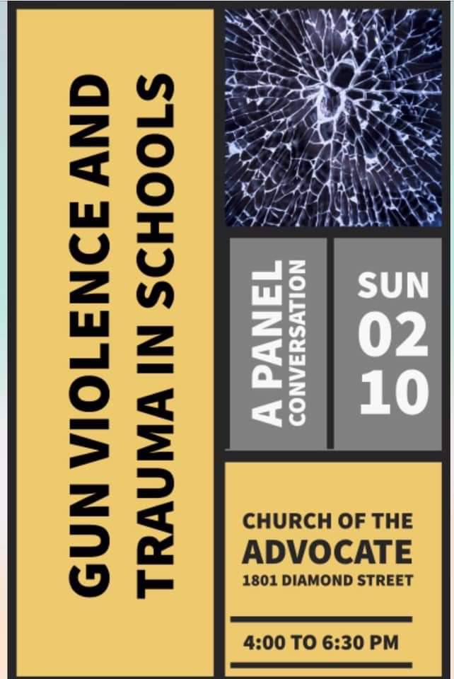 Join us today for a crucial conversation on Gun Violence & Trauma. Church of The Advocate. 4PM. #BlackLivesMatterAtSchool @BLMAtSchool #PhlEd