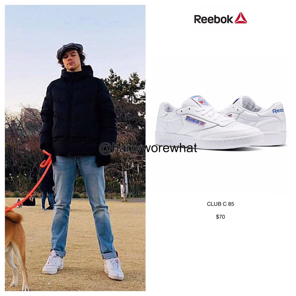 e99693543db Harry wore  70  Reebok  Club C 85  sneakers while out in Tokyo - 2 1 ...