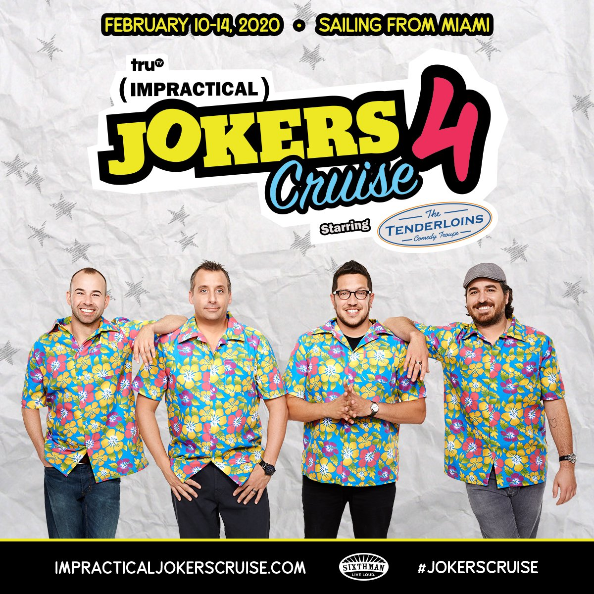 That's a wrap on the Impractical Jokers Cruise 3. After another comical adventure at sea, The Tenderloins are thrilled to announce they are setting sail again February 10-14, 2020!   Don't miss the boat and join the pre-sale today! #JokersCruise