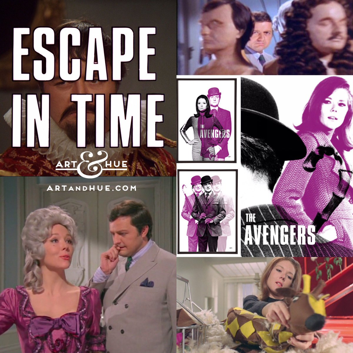 """On this day in 1967, The Avengers episode """"Escape In Time"""" aired on American television for the first time.   http://artandhue.com/theavengers   #dianarigg #mrspeel #patrickmacnee #johnsteed #MadeAtElstree #OnThisDay #OTD #TheAvengers #chapeaumelonetbottesdecuir #EscapeInTime #PeterBowles"""