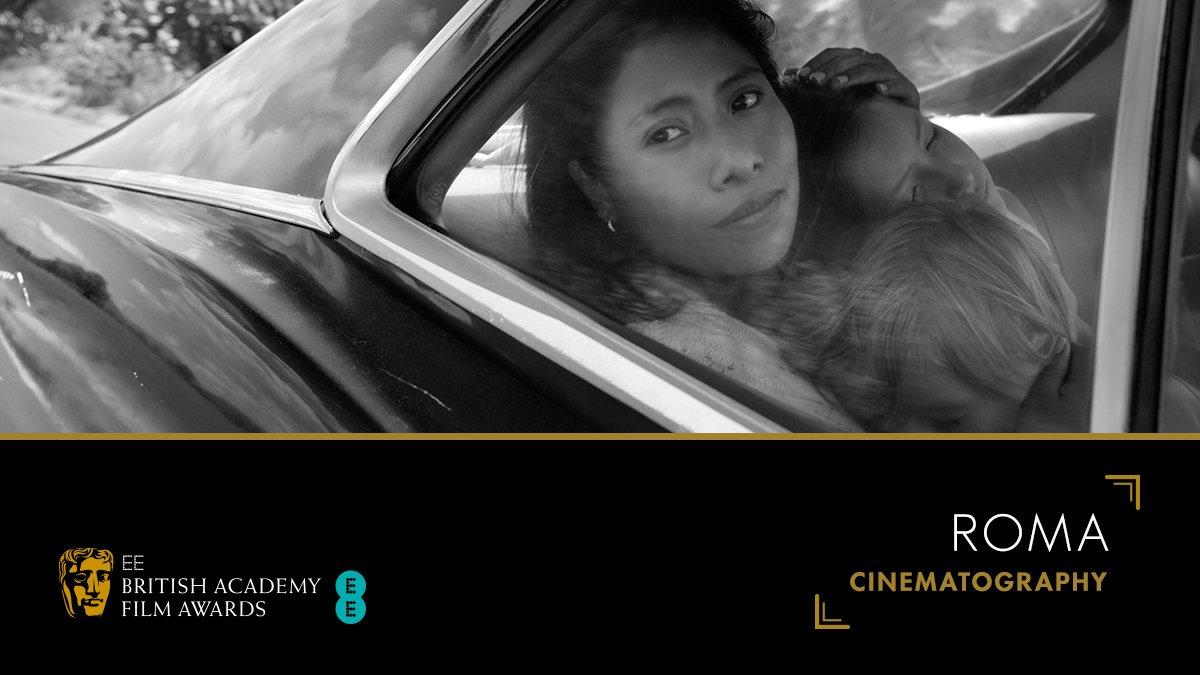 Winner of the Cinematography category… it's the brilliant @AlfonsoCuaron for Roma. 🎥👏 #EEBAFTAs #BAFTA@ROMACuaron