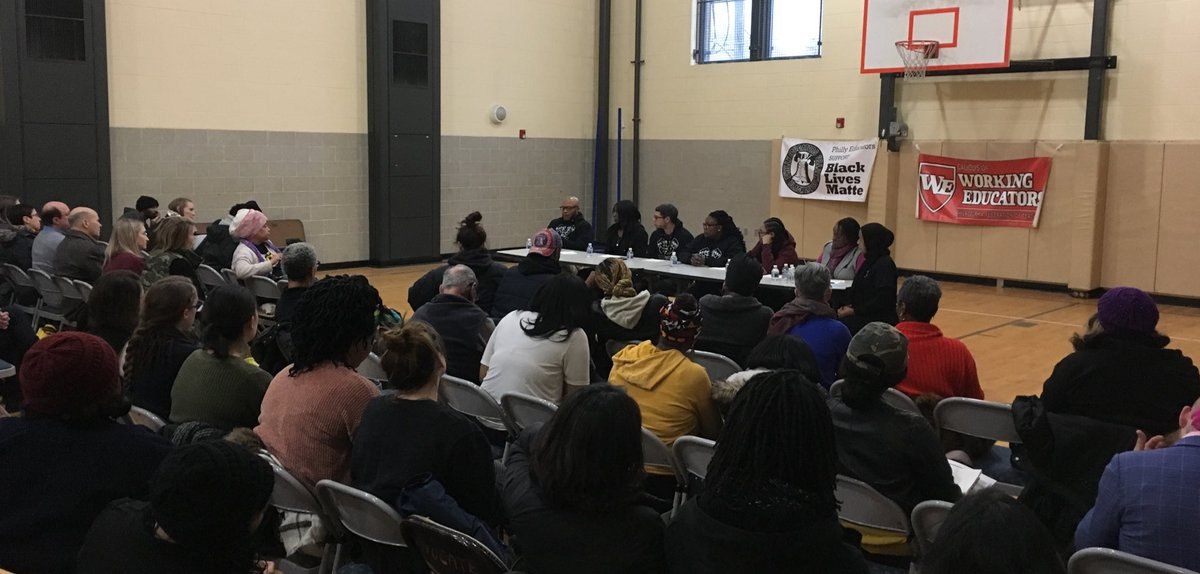 "Gun Violence & Trauma in Schools discussion to close #BlackLivesMatterAtSchool Week of Action with @CaucusofWE. Why are metal detectors and police the only way our schools are kept ""safe""? Our schools need #CounselorsNotCops #PHLed"