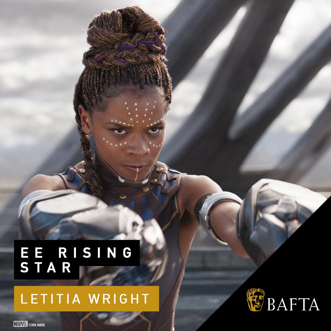Congratulations to the amazing @letitiaswright, our Shuri, who caps off an incredible year with the#EERisingStar @BAFTA  award!