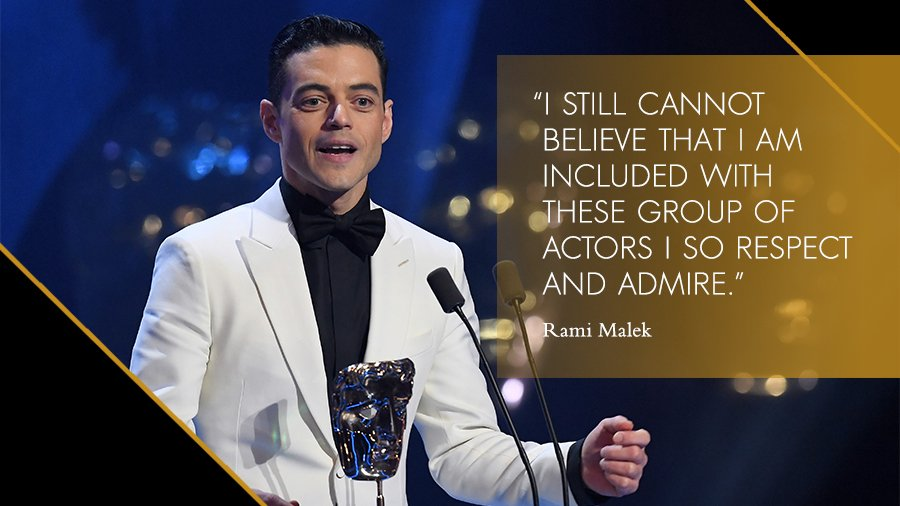 Absolutely thrilled for @ItsRamiMalek, the winner in the leading actor category for @BoRhapMovie! #EEBAFTAs #BAFTA