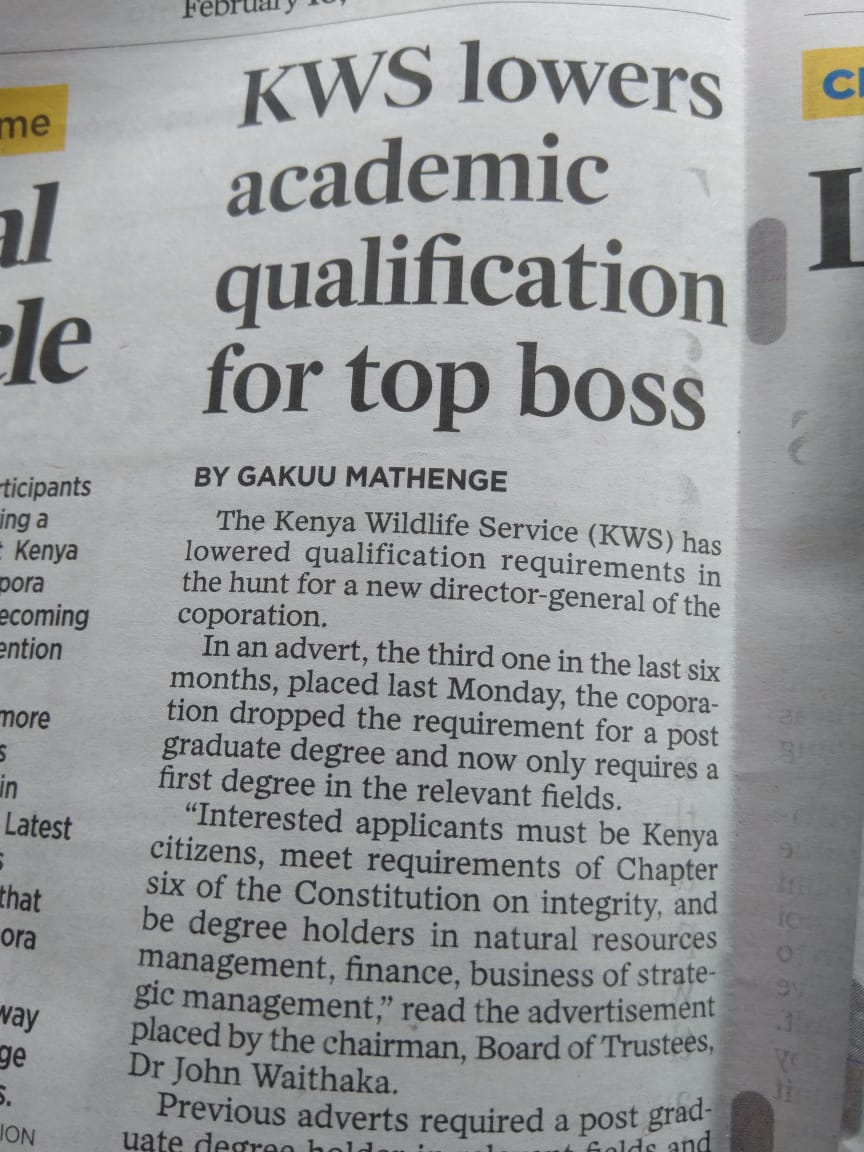 .@kwskenya I know at least two PhD holders who qualify for this job. And they applied. And no, they are not my relatives.  That means you have reserved the job for someone. So we wait to see who it is, isnt it? Is the person African?