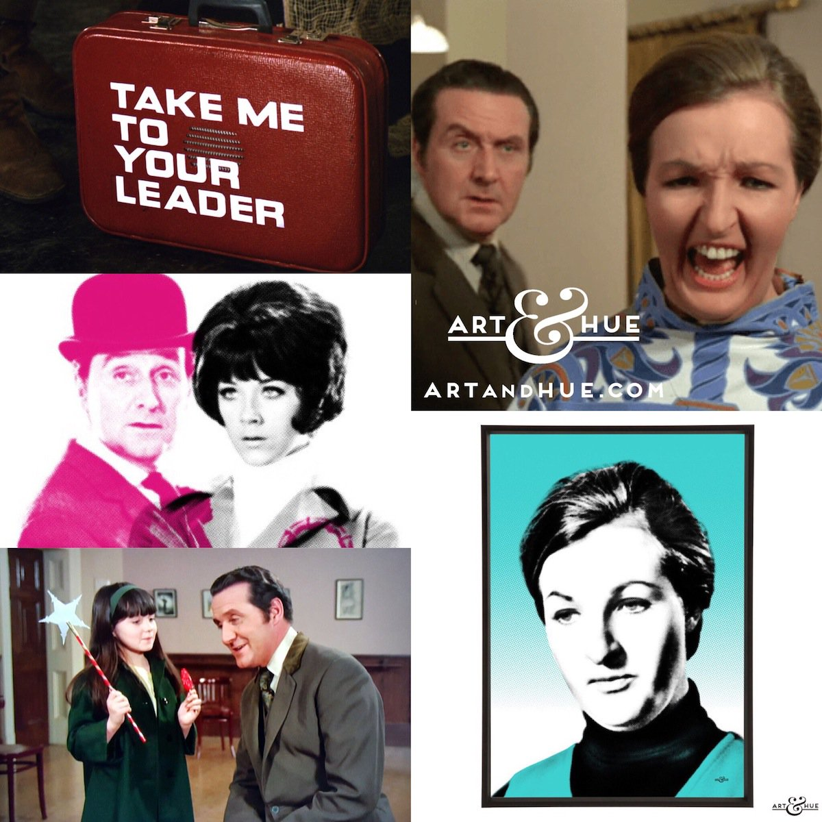 """50 years ago today, The Avengers episode """"Take Me To Your Leader"""" aired on American TV for the first time, starring Linda Thorson & Penelope Keith.   http://artandhue.com/theavengers   #TheAvengers #LindaThorson #TaraKing #PatrickMacnee #OnThisDay #OTD #TakeMeToYourLeader #PenelopeKeith"""
