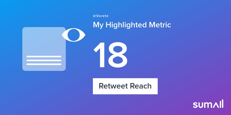 My week on Twitter 🎉: 1 Like, 1 Retweet, 18 Retweet Reach. See yours with https://sumall.com/performancetweet?utm_source=twitter&utm_medium=publishing&utm_campaign=performance_tweet&utm_content=text_and_media&utm_term=fbaa2474749d028bbd855c15 …