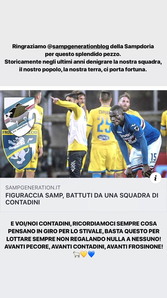 Viva il contadino! 💛💙🐑 #sampdoria #frosinone #seriea @sampdoria @SerieA @unavitadacinema