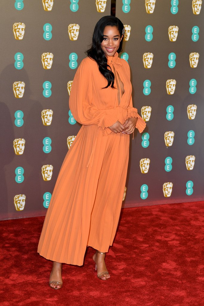 Laura Harrier wore a #LouisVuitton Pre-Fall 2019 dress to the 2019 EE British Academy Film Awards. #BAFTAs