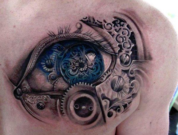 #Tattoo Awesome of the Day: Massive #Steampunk ⚙️ Eye 👁️ Chest Piece via @tat2x #SamaTattoo #SamaGeek 🤓