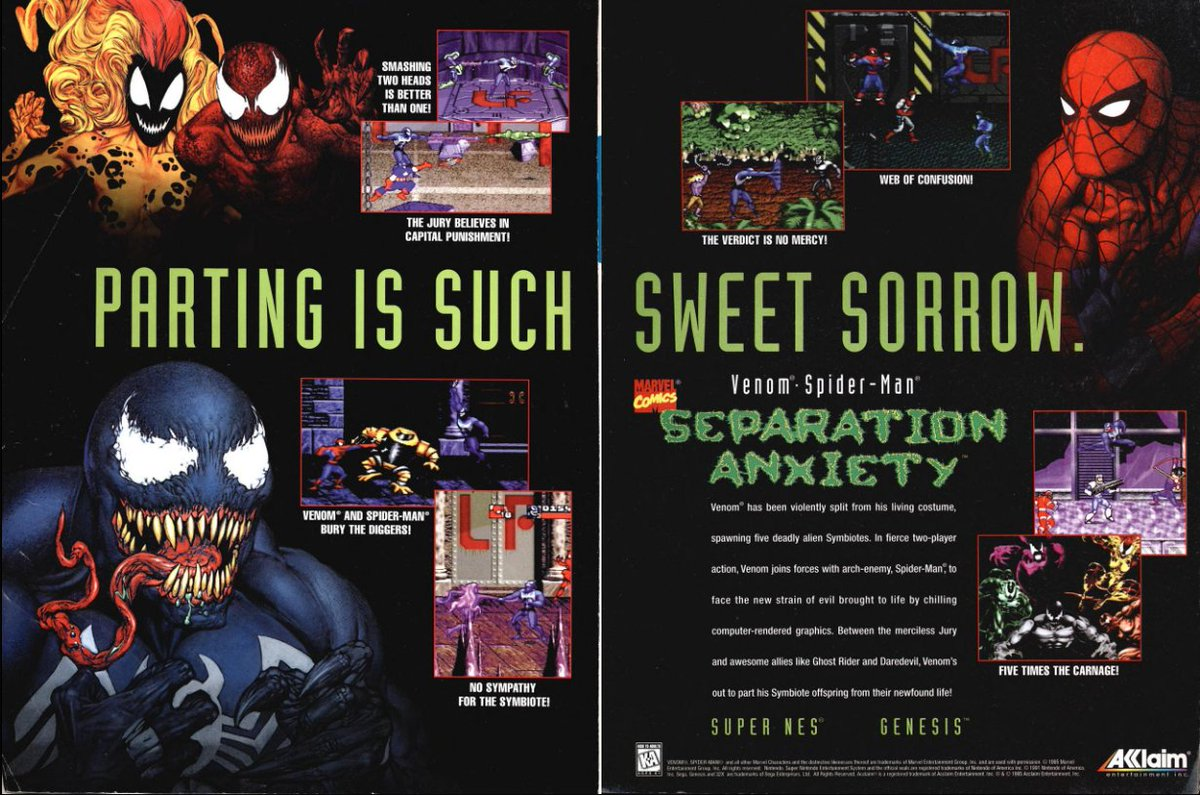 Nba Jam The Book On Twitter Print Ad For Venom Spider Man Separation Anxiety As Seen In Gamepro November 1995