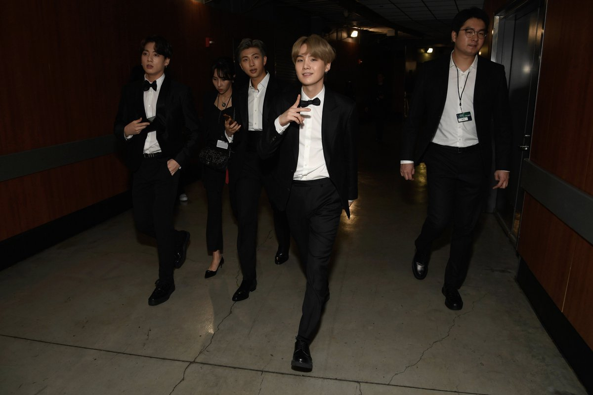 Our boys are looking FLY backstage at the #GRAMMYs! #TearItUpBTS