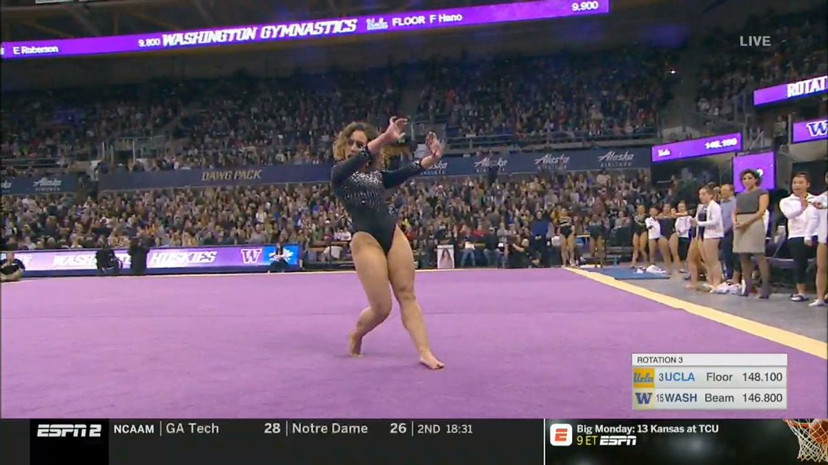 In front of a record crowd of 7,228 in her hometown of Seattle, @katelyn_ohashi scored her fifth career perfect 10 on floor.