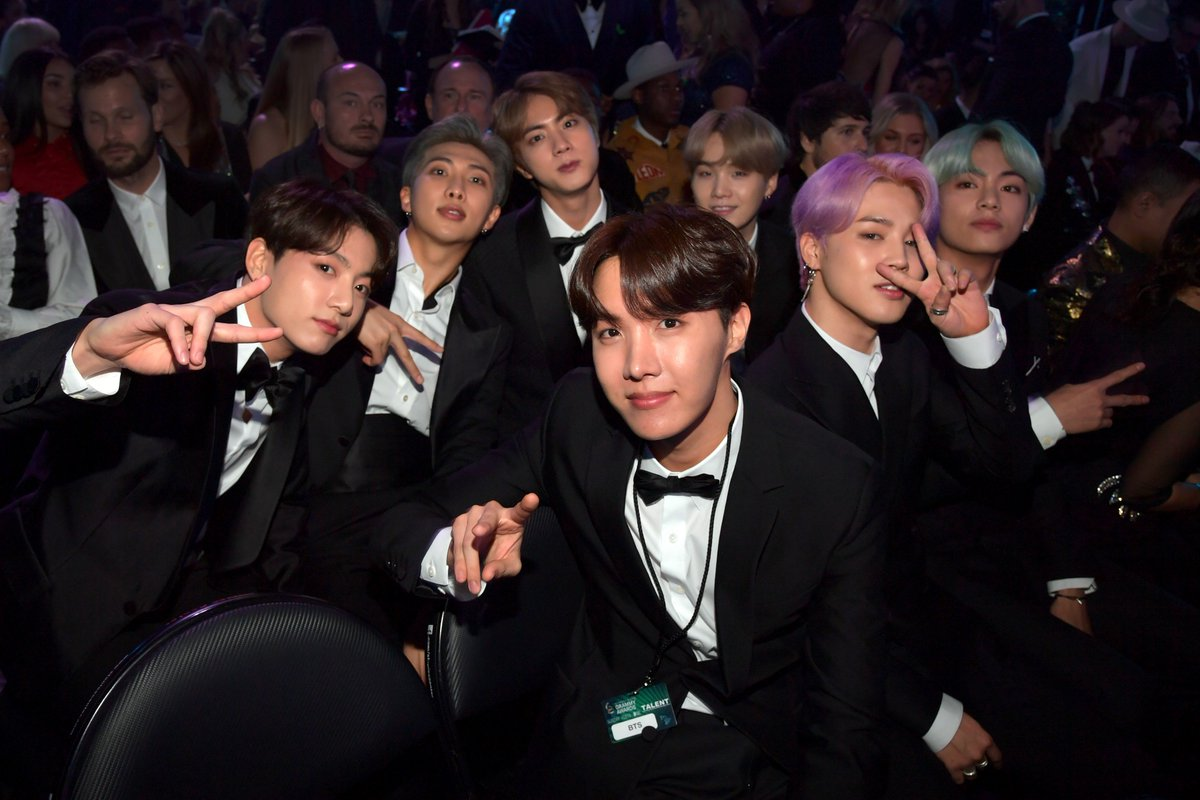 We could honestly watch a broadcast of only @BTS_twt reacting so purely to every moment at the #GRAMMYs💕  #TearItUpBTS