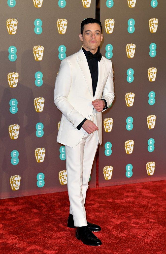 Rami Malek wore custom #LouisVuitton to the 2019 EE British Academy Film Awards. #BAFTAs