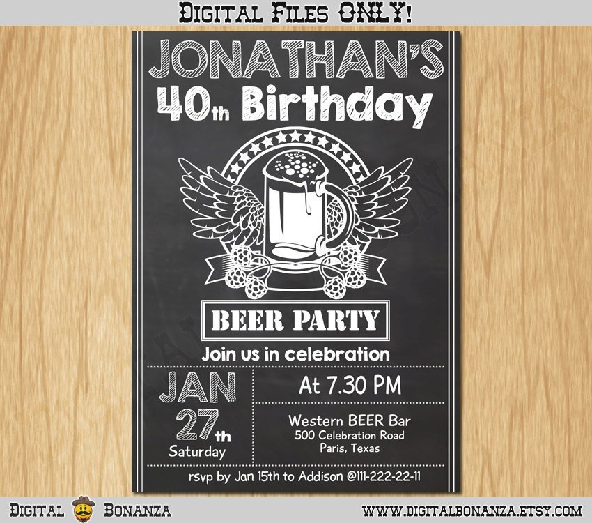 40th Birthday Invitation Cheers Beers Invite Surprise Chalkboard Beer Party Big 40 Printable