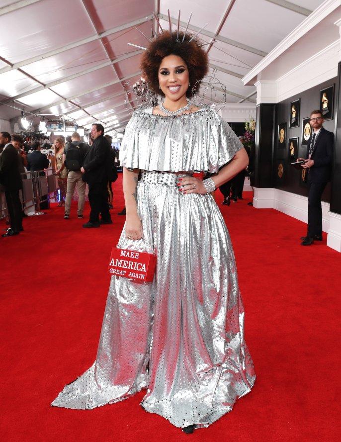 Joy Villa is sporting a border wall-inspired dress at the #Grammys.