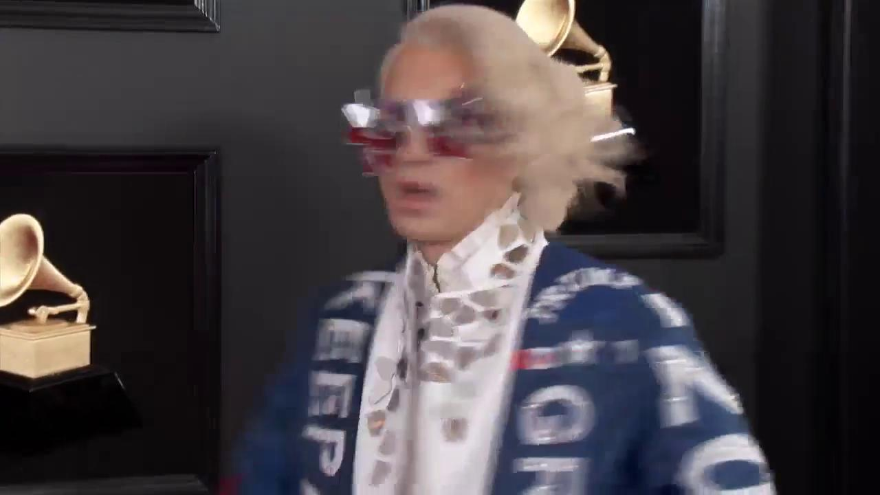 Ricky Rebel walks the #GRAMMYs red carpet broadcasting support for Trump https://t.co/ukRzgj6OjJ https://t.co/blagyvYR7v