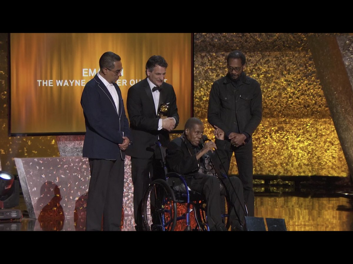 Beautiful moment as the great @Wayne_Shorter accepts his 11th GRAMMY Award with his longtime bandmates Danilo Perez, John Patitucci & Brian Blade around him. Salute to a legend! Find #Emanon now: https://t.co/6vY00uEy9y  #Grammys