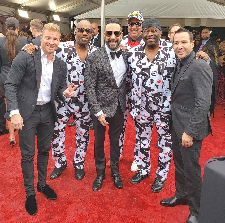 Reunited on The Grammy Red Carpet☆ AJ, Brian & Howie D of The BackStreet Boys with  Paul Anthony and Bowlegged Lou of  Full Force and  Joe Mazz.