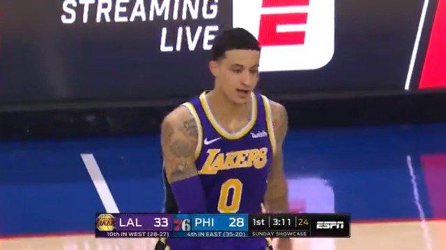 Kyle Kuzma puts up 39 points for the @Lakers in Philadelphia! https://t.co/QR4jRRsE2Z