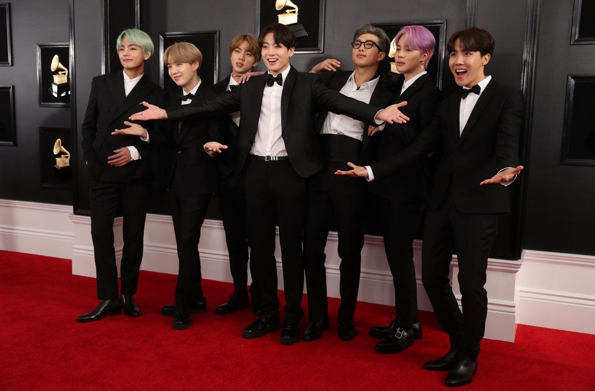 They're here! @BTS_twt rock the #Grammys red carpet. Check out all the red carpet looks here --  https://t.co/0C1Tpu5C52
