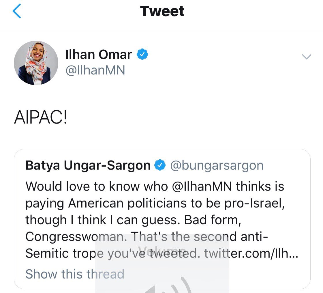 House Democrat leaders should condemn this anti-Semitism and immediately remove @IlhanMN from the House Foreign Affairs Committee