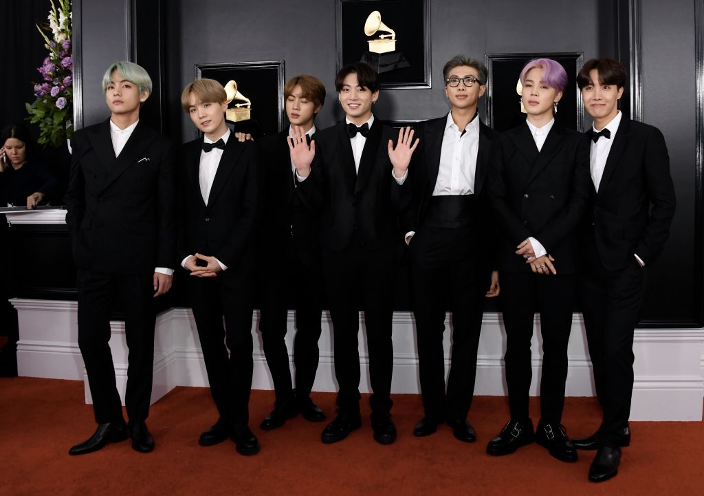 #BTSxGrammys : #BTS ' V, RM, Suga, Jimin, Jungkook, Jin, and J-Hope are dressed in matching black suits at the #GRAMMYs  #TearItUpBTS