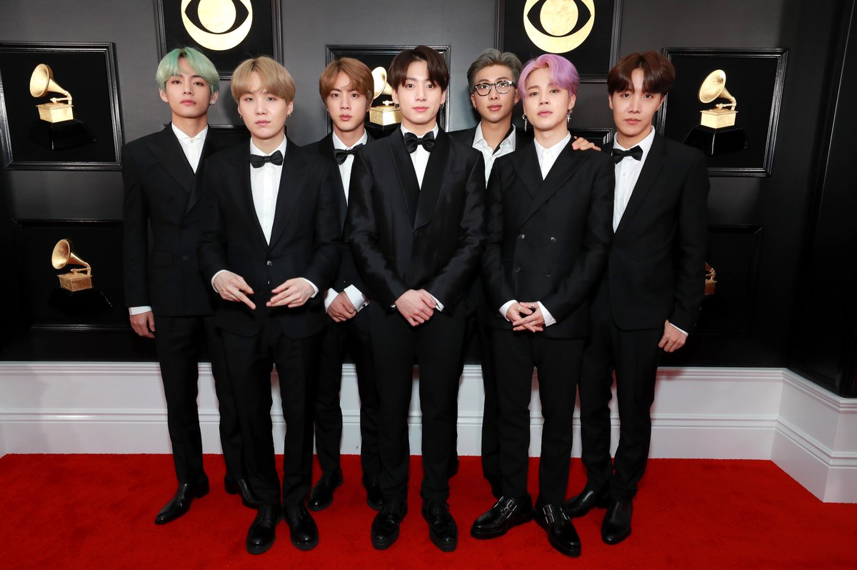 #BTS is wearing matching tuxedos to present at the #GRAMMYs!