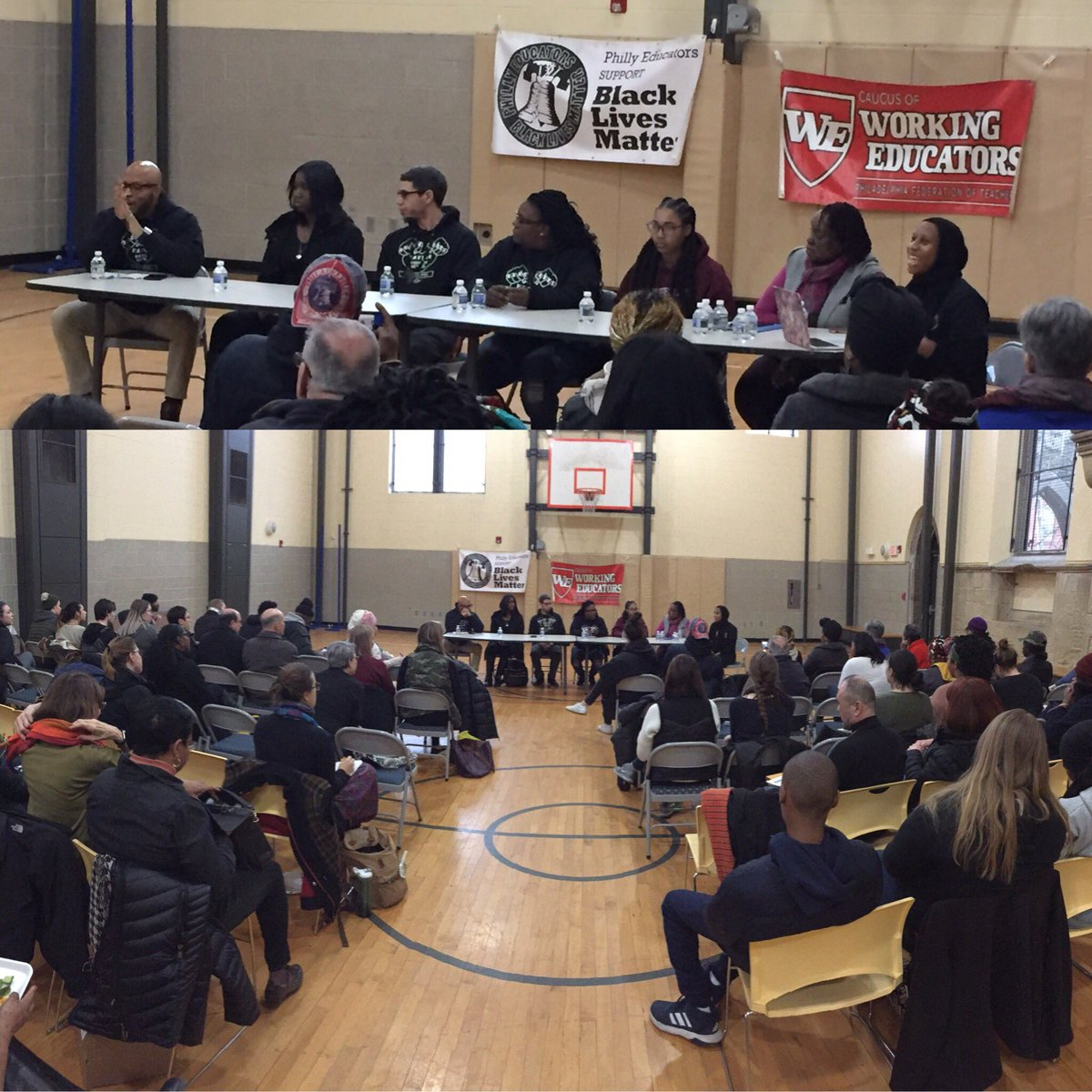 "Panelists at #BlackLivesMatterAtSchool discussion ""Gun Violence & Trauma in Our Schools"" share stories, ask tough questions & invite attendees to identify strategies to help our communities. #BlackLivesMatter #BLMPhlEd @CaucusofWE @BLMAtSchool @MelanatedEC @PHLschoolboard"