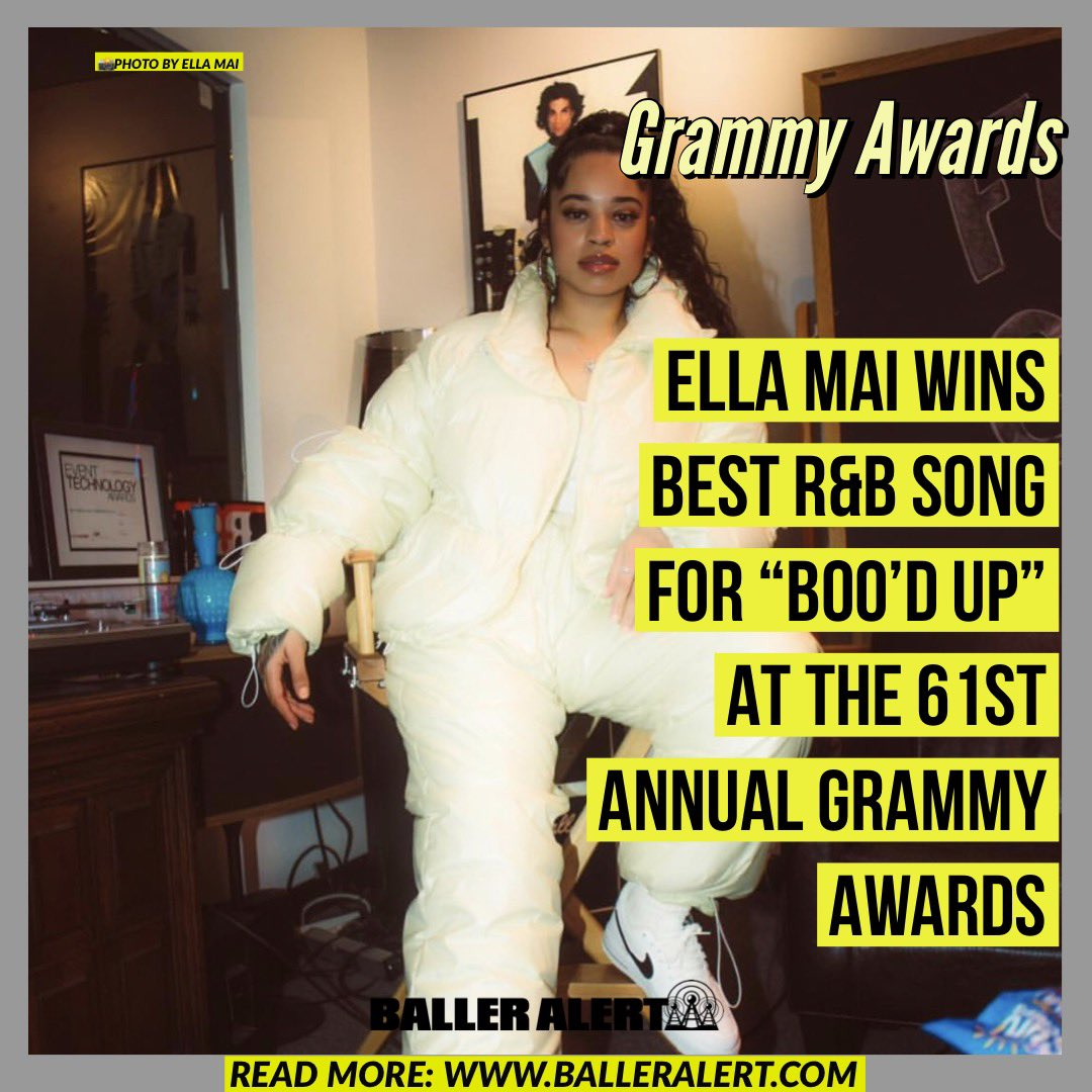 """RT @balleralert: Ella Mai wins Best R&B Song For """"Boo'd Up"""" at the 61st Annual Grammy Awards #grammys https://t.co/POjuS10qYf"""